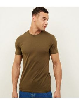 Khaki Muscle Fit T Shirt by New Look