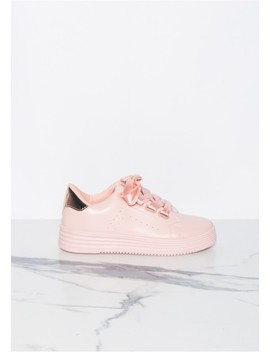 Ashley Pink Satin Ribbon Lace Trainers by Missy Empire