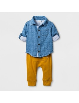 Baby Boys' 2pc Collared Denim Long Sleeve Shirt And Kangaroo Pocket Jogger Set   Cat & Jack™ Blue by Cat & Jack™