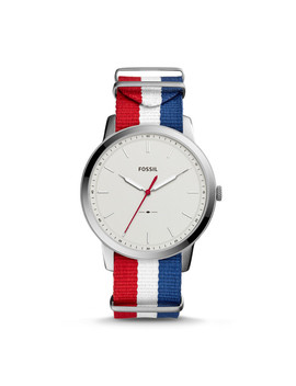 The Minimalist Three Hand Navy White And Red Polyester Watch by Fossil