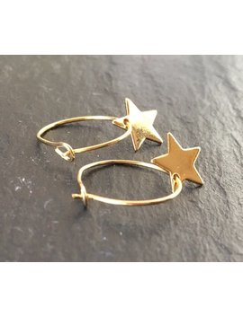 Yellow Gold Plated Star Charm Hoop Earrings. Small Dainty Dangle Hoops With Yellow Gold Plated Charms. Hypoallergenic Hoops. Trending Gift by Etsy