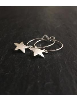 Silver Plated Star Charm Hoop Earrings. Silver Dangle Hoops. Simple, Small Hoop Earrings With Charm. Gift For Her. by Etsy