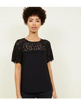 Black Lace Yoke Short Sleeve Top by New Look