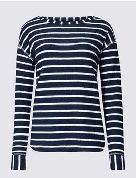 Cotton Rich Striped Long Sleeve Top by Marks & Spencer