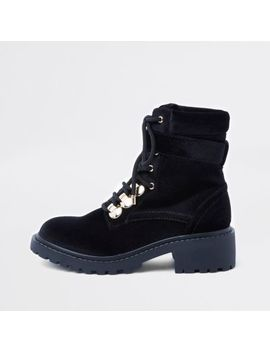 Black Lace Up Chunky Boots by River Island