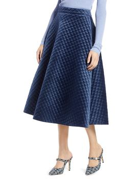 X Atlantic Pacific Quilted Velour Circle Midi Skirt by Halogen®