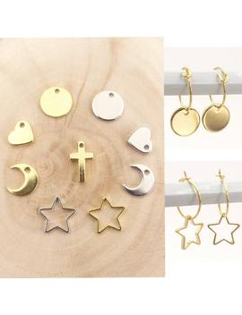 Gold Silver Tiny Hoop Earrings, Heart Coin Cross Star Crescent Moon Small Hoop Earrings,Sleeper Hoops,Christmas Present,Birthday Present by Etsy