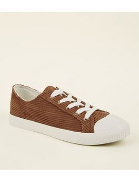 Rust Corduroy Lace Up Trainers by New Look