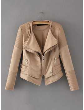 Zipper Detail Quilted Pu Jacket by Shein