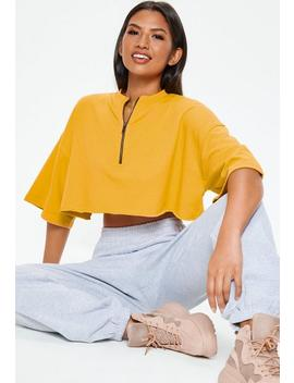 Yellow Zip Boxy Cropped Sweatshirt by Missguided