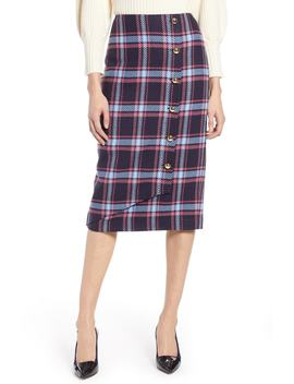X Atlantic Pacific Plaid Wrap Pencil Skirt by Halogen®