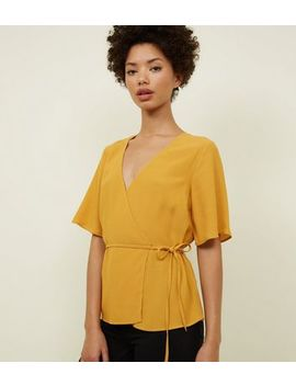 Yellow Wrap Front Tie Side Top by New Look