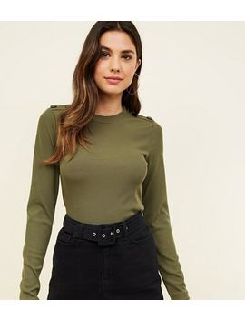 Khaki Popper Shoulder Long Sleeve Top by New Look