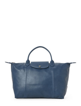 Light Blue Le Pliage Cuir Medium Satchel by Longchamp