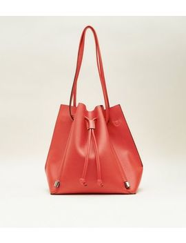 Red Slouch Drawstring Shopper Tote Bag by New Look
