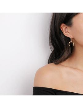 Minimal Gold Double Horn Earrings   Tusk Earrings   Gold Huggie Earrings   Crescent Moon Earrings by Etsy
