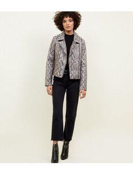 Light Grey Faux Snakeskin Biker Jacket by New Look