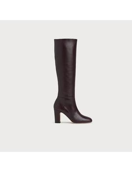 Kristen Wine Leather Knee Boots by L.K.Bennett