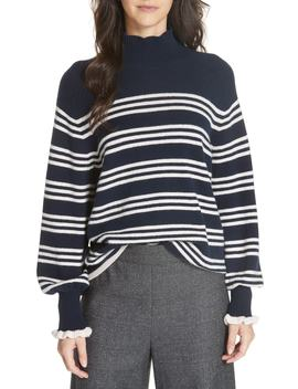 Striped Wool Cotton Blend Blouson Sleeve Sweater by Rebecca Taylor