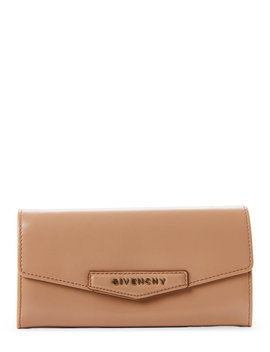 Beige Flap Continental Leather Wallet by Givenchy