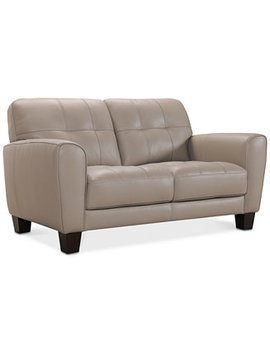 """Kaleb 61"""" Tufted Leather Loveseat, Created For Macy's by Kaleb Tufted Leather Sofa Collection, Created For Macy's"""