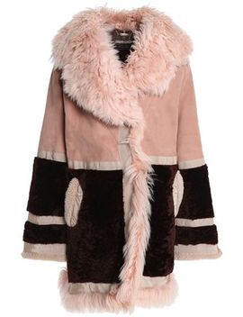 Paneled Shearling And Suede Coat by Roberto Cavalli