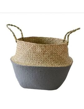 Seagrass Belly Basket Storage Plant Pot Foldable Nursery Laundry Bag Home Decor by Unbranded