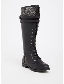Black Knit & Faux Leather Combat Boot (Wide Width & Wide To Extra Wide Calf) by Torrid
