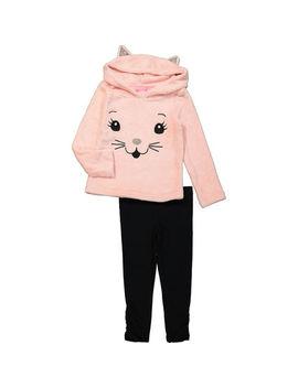 Rose Pink Cat Fleece Hoodie & Leggings Set by Isaac Mizrahi