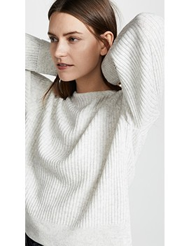 Ribbed Boat Neck Wool Pullover by Vince