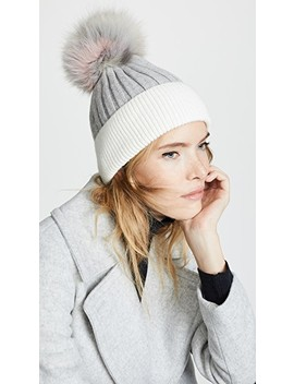 Knit Hat With Fur Pom by Jocelyn