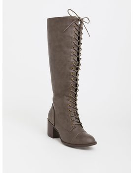 Dark Taupe Lace Up Knee Boot (Wide Width) by Torrid