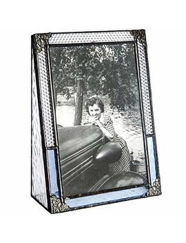 J Devlin Pic 381 46 V Blue Stained Glass Picture Frame 4x6 Vertical Photo Frame Vintage Home Decor by J Devlin Glass Art