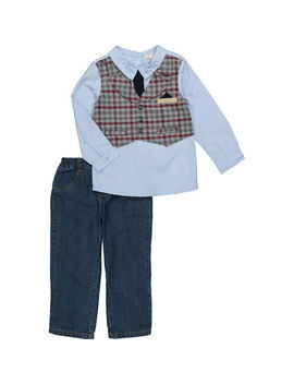 Two Piece Blue Waistcoat Outfit by Mintini Baby
