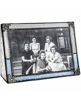 J Devlin Pic 381 46 H Pale Blue Stained Glass Picture Frame Tabletop 4 X 6 Horizontal Photo For Antique Photos by J Devlin Glass Art