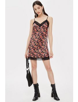 Lace Trim Sequin Slip Dress by Topshop