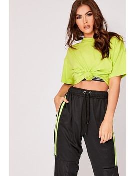 Sarah Ashcroft Lime Raise Hell Boyfriend Fit T Shirt by In The Style