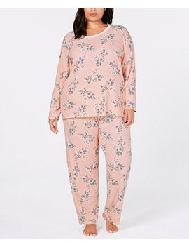 Plus Size Thermal Fleece Pajama Set, Created For Macy's by Charter Club