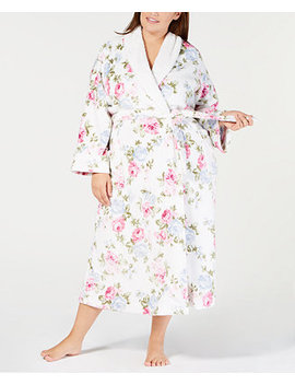 Plus Size Long Floral Print Wrap Robe, Created For Macy's by Charter Club