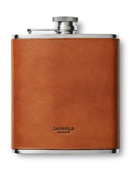 Men's Leather Wrapped Hip Flask by Shinola