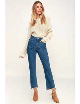 Original Straight Blue High Rise Cropped Jeans by Rolla's