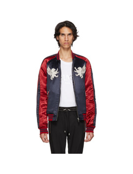 Navy & Red Satin Bomber Jacket by Balmain