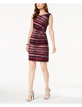 Petite Printed Ruched Sheath Dress by Connected