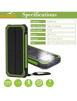 Evertrk Portable Solar Power Bank Charger   Premium Anti Shock Portable Charger – Portable Usb Charger For Outdoor Activities   Compatible With Android I Os And More – 15000m Ah (Green) by Evertrk