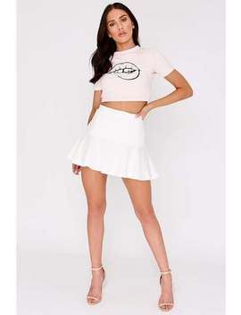 Charlotte Crosby White Frill Extreme Mini Skirt by In The Style