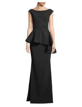 Etheline Beaded Cap Sleeve Asymmetric Peplum Waist Trumpet Evening Gown by Chiara Boni La Petite Robe