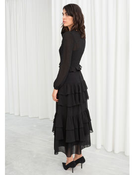 Beaded Ruffle Midi Dress by & Other Stories