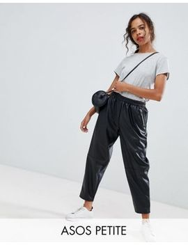 Asos Design Petite Leather Look Jogger by Asos Design