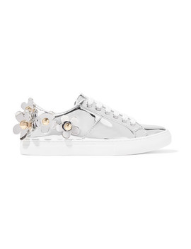 Daisy Appliquéd Metallic Leather Sneakers by Marc Jacobs