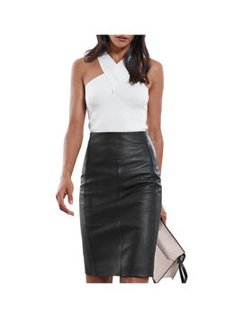 Reiss Megan Leather Skirt, Black by Reiss